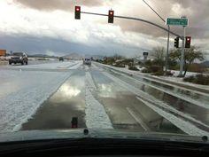 This is in my neck of the woods.  Crazy! Snow in Queen Creek, AZ