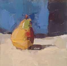 """Lisa Noonis, """"Pear in Blue"""" - 8x8, oil on canvas--at Principle Gallery"""