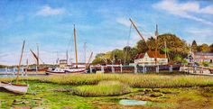 Pin Mill, River Orwell, Suffolk Watercolour By Roger Turner Watercolor Paper, Watercolor Paintings, 17th Century, Art For Sale, Natural Beauty, Sailing, River, Nature, Artist