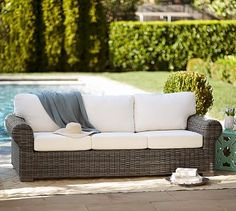 Are you searching for the perfect outdoor sofa for spring, summer and fall? We have the scoop on 11 of the best Pottery Barn outdoor sofas on sale! Wicker Mirror, Wicker Shelf, Wicker Table, Wicker Sofa, Wicker Furniture, Cushions On Sofa, Outdoor Furniture, Wicker Dresser, Wicker Planter