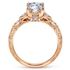 Gabriel - Chelsea 18k Rose Gold Round Straight Engagement Ring