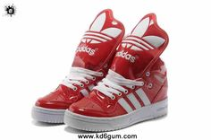 2014 Adidas X Jeremy Scott Big Tongue Leather Shoes Red White