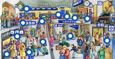 TOUCH esta imagen: Het station by Paula Prevoo French Cartoons, French Images, Art Transportation, Writing Pictures, Gross Motor Activities, Picture Boards, Hidden Pictures, Wheres Wally, Picture Story