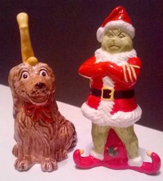 Seuss Christmas Grinch with Dog Max (Wearing His Reindeer Horn) Salt and Pepper Shakers. Christmas China, Christmas Time, Vintage Christmas, Grinch Stole Christmas, Salt And Pepper Set, Kitchen Themes, Vintage Dishes, Salt Pepper Shakers, Sugar And Spice