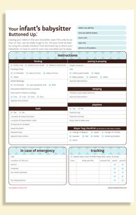 babysitter information sheet for infants printable sheet with