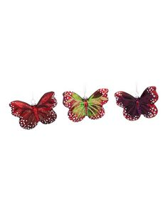 Take a look at this Spotted Butterfly Ornament Set by Melrose on #zulily today! $90 !!