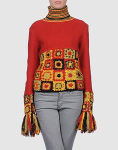 Outstanding Crochet: Indian Rose. Pullover with fringe. Just picture for inspiration