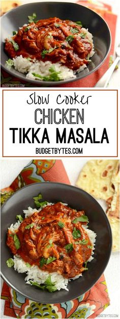 This Slow Cooker Chicken Tikka Masala boasts a rich and aromatic sauce and tender, juicy chicken. Set it and forget it until your house smells amazing! @budgetbytes
