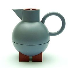 Grey plastic thermos-jug Euclid on broen stands and with orange cover design Michael Graves 1994 executed by Alessi / Italy