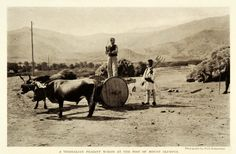 A farmer stands on a wagon pulled by oxen; another holds a pitchfork-Fred Boissonnas-Olympos, Karpathos, Greece National Geographic Images, Mount Olympus, Frederic, Rich Image, Great Photographers, Image Collection, Photo Library, Royalty Free Photos, Old Photos