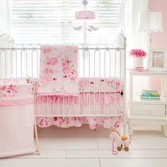 Crib Bedding Set My Baby Sam White Pink - Simple yet elegant, our pink floral baby bedding by My Baby Sam is a classic! Bring your rose garden inside and create a dreamy look with our soft and sweet Rosebud Lane Crib Collection. Baby Crib Bedding Sets, Girls Bedding Sets, Crib Sets, Girl Cribs, Baby Cribs, Crib Rail Cover, Crib Blanket, Pink Baby Blanket, Floral Design