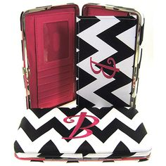 """Letter """"B"""" Initial Personalized Chevron Flat Wallet Clutch Purse. Size : 7.5w X 4.5h X 1d in. - This wallet is Letter """"B"""". Material : PVC Faux Leather. Snap Closure. Plenty of Pockets for Credit Cards. Checkbook Holder Cover Inside."""