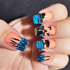 fishing lure nail art after applying black base coat