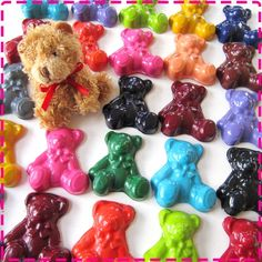 TEDDY BEAR CRAYONS - Birthday Party Pack of 20 Favors - Red, Yellow, Pink, Green, Purple, Orange, Blue, Turquoise, Lime, Brown, Black, Etc.. $24.00, via Etsy.