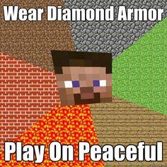 wear diamond armor play on peaceful - Minecraft