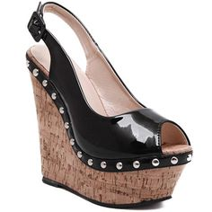 Fashion Women's Sandals With Wedge Heel and Patent Leather Design #jewelry, #women, #men, #hats, #watches, #belts