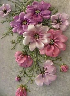 Wonderful Ribbon Embroidery Flowers by Hand Ideas. Enchanting Ribbon Embroidery Flowers by Hand Ideas. Ribbon Embroidery Tutorial, Silk Ribbon Embroidery, Crewel Embroidery, Hand Embroidery Designs, Embroidery Patterns, Embroidery Supplies, Embroidery Thread, Wedding Embroidery, Modern Embroidery