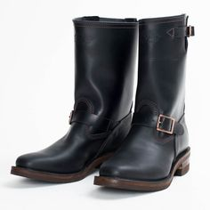 The Bootery/Wesco® - Boss Engineer - Black Domain Mens Redwing Boots, Red Wing Boots, Engineer Boots, Motorcycle Boots, Shoe Boots, Shoes, Black Tie, Leather Boots, Engineering