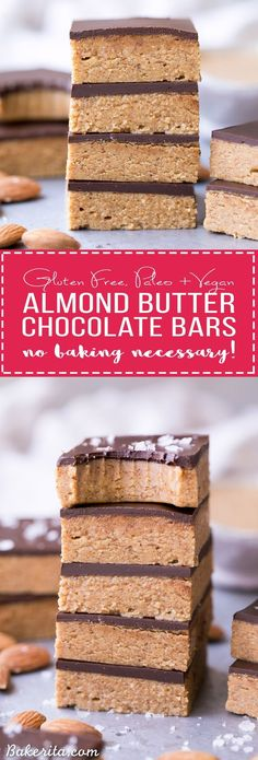 Chocolate Almond Butter Bars (Paleo + Vegan) These No Bake Chocolate Almond Butter Bars are easy to make with just five ingredients and no baking necessary! You've got to sink your teeth into these rich gluten free, paleo and vegan bars. Paleo Sweets, Paleo Dessert, Gluten Free Desserts, Dessert Bars, Healthy Desserts, Kosher Desserts, Gluten Free Bars, Appetizer Dessert, Healthy Recipes