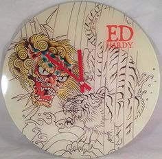"Ed Hardy Glass Round Wall Clock By Christian Audigier ""Dragon Vs Tiger"" Christian Audigier, Novelty Clocks, Clocks For Sale, Selling On Ebay, Decorative Plates, Dragon, Glass, Wall, Kitchen"