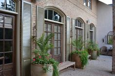Exterior Antique Distressed Shutters give a new look! Outside Living, Outdoor Living, Distressed Shutters, Living Spaces, Porch, Shades, Exterior, Doors, Plants