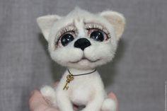 Купить Авторская войлочная игрушка щенок Чипсик - бежевый, собака, собака…