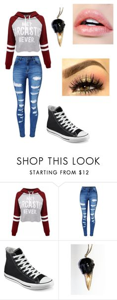 """Casual school day #3"" by dark-soul335 ❤ liked on Polyvore featuring WithChic and Converse"