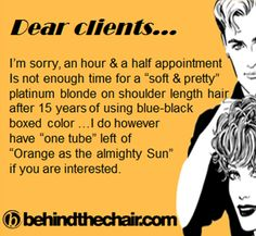 "Dear Clients... I'm sorry, an hour & a half appointment is not enough time for a ""soft & pretty"" platinum blonde on shoulder length hair after 15 years of using blue-black boxed color. I do, however, have ""one tube"" left of ""Orange as the almighty Sun"" if you are interested."