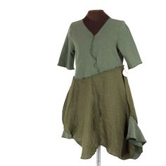 Go West Pimento Searcher - reconstructed olive tunic - Secret Lentil Clothing