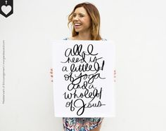 Whole Lot of Jesus  Script Print Hand-Lettered Yoga by MofEHome