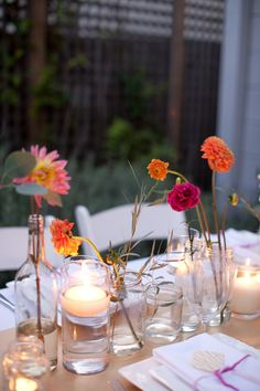 Simple wedding centerpieces. Cheap and pretty. Perfect for outdoor receptions  DIY!