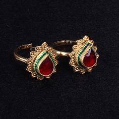 Toe Ring with Maroon stone - WJ0045 Bridal Jewellery Toe Rings