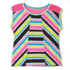 Toddler Girls' Striped Top with Netting Trim