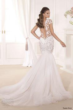 tarik ediz 2014 bridal collection sweetheart cap sleeves fit and flare wedding dress back gardenya g1119