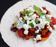 Pepper, tomato and goat cheese wrap | The Flying Ramekin