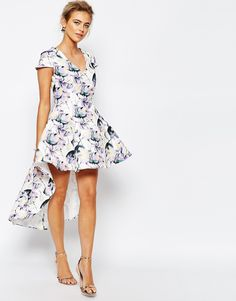 Image 1 ofTrue Decadence Mini Prom Dress in Allover Floral With High Low Hem