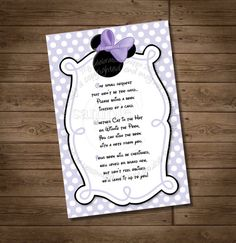 INSTANT DOWNLOAD Lavender Purple Minnie Mouse Please Bring a Book Instead Of A Card - Purple Minnie Mouse - My Celebration Shoppe on Etsy, $3.50