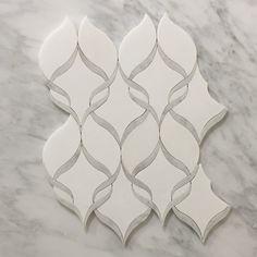 White Thassos and Carrara White Marble Waterjet Mosaic Tile in Princess Weave – Marble Bathroom Dreams Pallet Bathroom, Bathroom Ideas, Bathroom Wall, Gold Bathroom, Bathroom Sinks, Washroom, Bathroom Designs, Bathroom Flooring, Bathroom Renovations