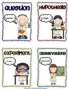 Here's a set of materials for primary students that includes posters on one approach to a scientific method, 1/4 page cards to sequence, and a generic science experiment recording sheet.