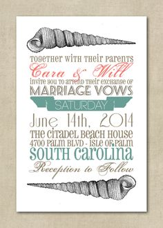 Wedding Invitations  Beach Theme Shells Vintage