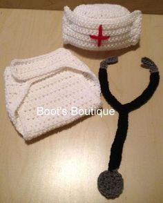 Nurse,Diaper,Cover,Set,Crochet,Clothing,nurse,white,red,stethoscope ...