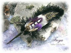 One of my Dragonfly Magick Feather Quill Pens, created using vintage feathers, and real dried woodland ferns. Feather Painting, Feather Art, Feather Jewelry, Feather Pens, Calligraphy Tutorial, Calligraphy Pens, Wiccan, Magick, Quilling