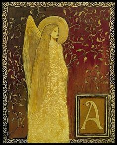 """""""A is for Angel ~ Medieval Alphabet Letter by Emily Balivet Illuminated Letters, Illuminated Manuscript, Entertaining Angels, Angels Among Us, Medieval Times, Angel Art, Art Portfolio, Middle Ages, Rose"""