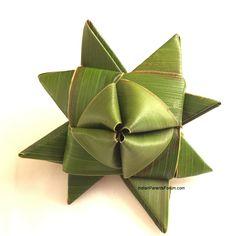 DIY 3D Moravian star - weaving coconut leaf or palm leaf