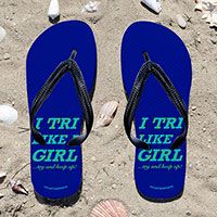 Triathlon I Tri Like A Girl on Blue Flip Flops - Kick back after a triathlon with these great flip flops! Fun and functional flip flops for all triathletes.