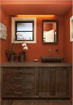 Eclectic Bathroom Design, Pictures, Remodel, Decor and Ideas - page 7 {maybe a different wall color} Eclectic Bathroom, Rustic Bathrooms, Bathroom Interior, Red Bathrooms, Master Bathrooms, Modern Bathroom, Bathroom Colors, Warm Bathroom, Orange Bathroom Paint
