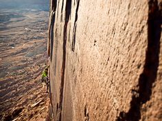Climbing Idiot Wind, San Rafael Swell, Utah    Photograph by Tobias Macphee    (http://adventure.nationalgeographic.com/adventure/extreme-photo-of-the-week/?source=link_fb20120220epow-sanrafaelswell)
