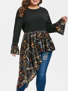 Last Chance! Printed Flare Sleeve Asymmetrical Plus Size Blouse Plus Size Blouses, Plus Size Tops, Shirt Collar Styles, Scarf Shirt, Crop Top Shirts, Types Of Sleeves, Blouses For Women, Plus Size Outfits, Plus Size Fashion