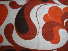 FABRIC original 1970s / retro vintage flower power / orange brown atomic on Etsy, $35.18
