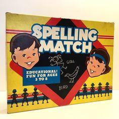 Vintage Spelling Match Board Game 1954 #CadacoEllis